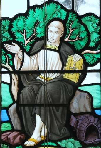 detail of a stained glass window of Saint Mawes teaching his disciples; date and artist unknown; photographed on 2 October 2015 by Andrewrabbott; swiped from Wikimedia Commons