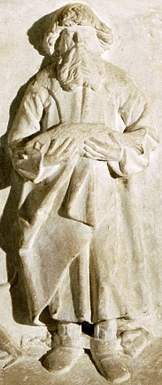 bas-relief depiction of Saint Metrone holding the fish that ate his key; 16th century; church of Saint Cyriakus in Gernrode, Germany