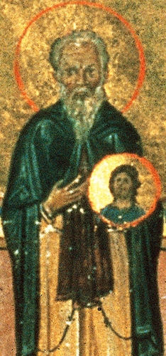 detail from the Menologian of Basil II featuring Saint Nicetas of Medicion