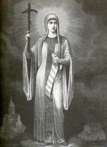 illustration of Saint Nino of Georgia by Mikhail Sabinin, 1882; swiped from Wikimedia Commons