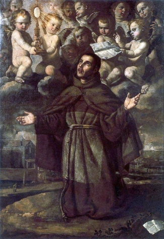 oil on canvas painting of Saint Paschal Baylon by Jerónimo Jacinto Espinosa, 17th century, National Art Museum of Catalonia, Barcelona, Spain; swiped from Wikimedia Commons