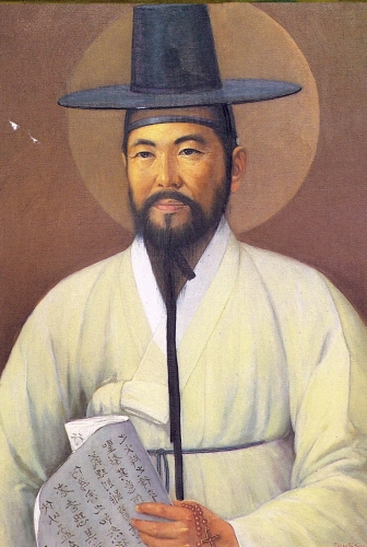portrait of Saint Paul Chong Hasang, date and artist unknown; swiped from Wikimedia Commons