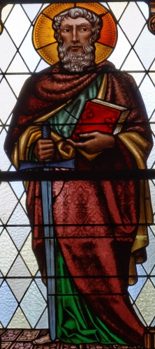 detail of a stained glass window depicting Saint Paul the Apostle, parish church of Laa an der Thaya, Lower Austria, Austria; date and artist unknown; photographed on 24 September 2017 by Robert Heilinger; swiped from Wikimedia Commons