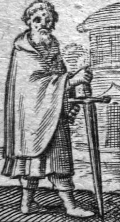 detail of a Belgian engraving of Saint Peter of Palestine, 1640, artist unknown