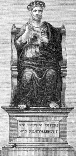 illustration of Saints Peter's Statue, from the 1877 Illustrated Catholic Family Annual
