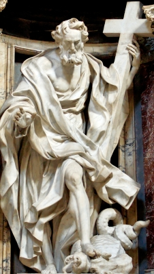 detail of a statue of Saint Philip the Apostle by Giuseppe Mazzuoli, nave of the Basilica of Saint John Lateran, Rome, Italy