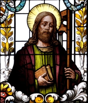 detail of a stained glass window of Saint Philip the Apostle; 19th century by F X Zettler, Munich, Germany; parish church of Saint Alban, Gutenzell-Hürbel, Biberach, Germany; photographed in January 2015 by Andreas Praefcke; swiped from Wikimedia Commons