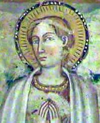 Saint Pudentiana of Rome from a 15th century fresco, church of Santa Pudenziana, Narni, Italy