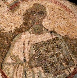 detail of a 5th century mosaic portrait of Saint Quodvultdeus; San Gennaro catacombs, Naples, Italy; swiped from Wikimedia Commons