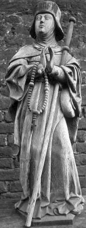 oak statue of Saint Reinildis of Saintes, c.1525 by the Master of Elsloo; swiped from Wikimedia Commons