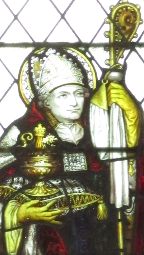 detail of a stained glass window of Saint Richard of Chichester by Charles Eamer Kempe, c.1883; north tower, Saint Mary the Virgin church, Shipley, West Sussex, England; photographed on 19 June 2017 by Antiquary; swiped from Wikimedia Commons
