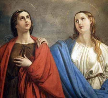 detail of a painting of Saint Rufina and Saint Secunda, date and artist unknown; swiped from Santi e Beati