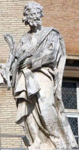 statue of Saint Rufus of Rome by Matteo Tomassini, c.1703; colonnade of Saint Peter's Basilica, Rome, Italy