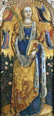 bas-relief of Saint Sabina from the Santa Sabina Polyptych, by Antonio Vivarini, 1443, church of San Zaccaria, Venice, Italy