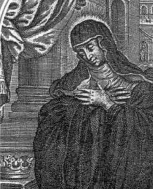 detail of an Italian holy card of Saint Salome of Niederaltaich, date and artist unknown; swiped from Santi e Beati