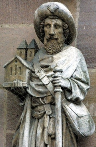 detail of a statue of Saint Sebald, date and artist unknown; west facade of the church of Saint Sebaldus, Nuremberg, Germany; swiped from Wikimedia Commons