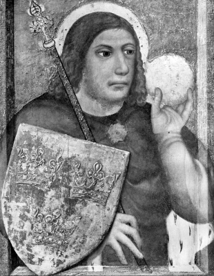 painting of Saint Sigismund of Burgundy, 1360s, by Theodoric of Prague
