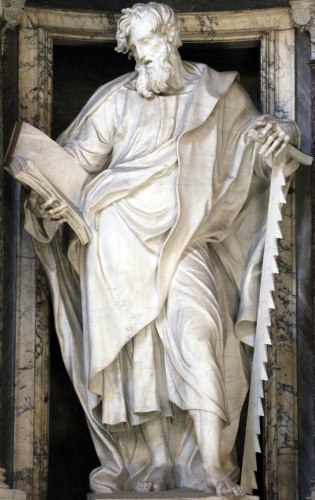 marble statue of Saint Simon by Francesco Moratti, 1708-09; Basilica of Saint John Lateran, Rome, Italy