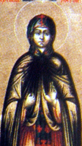 detail of an Orthodoxi icon of Saint Theodosia of Constantinople, date and artist unknown; swiped from Wikimedia Commons