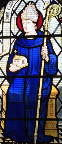 detail of a stained glass window of Saint Trillo of Wales; date and artist unknown; Parish Church of St Trillo, Llandrillo, Denbighshire, Wales; photographed on 15 July 2014 by Timothy Titus; swiped from Wikimedia Commons