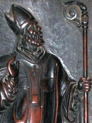 16th century wooden bas-relief statue of Saint Venerius of Milan, choir, cathedral of Milan, Italy