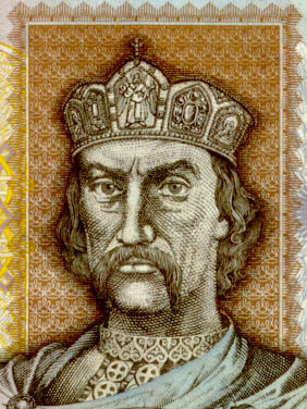 detail from a Ukrainian 1 grivna bank note showing an image of Saint Vladimir I of Kiev, artist unknown