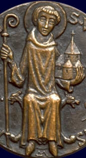 detail of a medallion of Saint Wandrille of Fontenelle, artist unknown; swiped from Santi e Beati