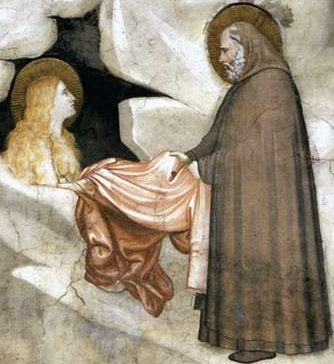 detail of a fresco of Saint Zosimus of Palestine meeting Saint Mary of Egypt; c.1325, Assisi, Italy