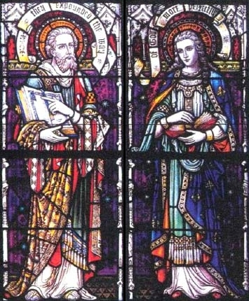 detail of a stained glass window of Saints Aquila and Priscilla, date and artist unknown; swiped from Santi e Beati