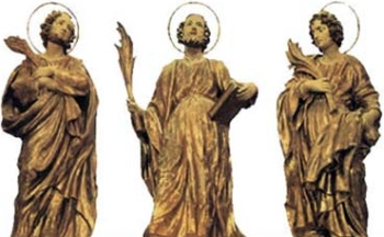 statues of Saints Simplicius, Constantius and Victorinus, date and artist unknown; swiped from Santi e Beati
