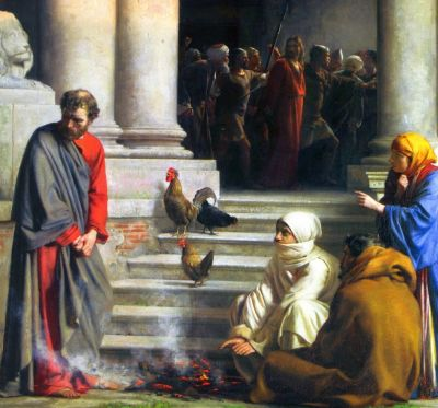 detail of the painting 'Peter's denial', 19th century, by Carl Heinrich Bloch; swiped from Wikimedia Commons