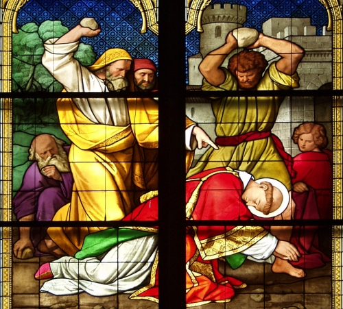 detail from the stained glass window known as the 'Bayern Window' depicting the Stoning of Saint Stephen; date and artist unknown; Cologne Cathedral, Cologne, Germany; photographed on 1 May 2006 by Raimond Spekking; swiped from Wikimedia Commons