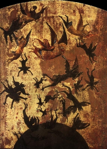14th century depiction of 'The Fall of the Rebel Angels'; artist unknown; Louvre Museum, Paris, France; swiped from Wikimedia Commons