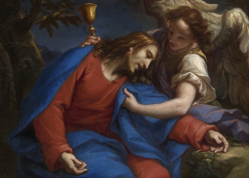 detail of the painting 'The Agony in the Garden of Gethsemane' by Francesco Trevisani, 1740;  Kelvingrove Art Gallery and Museum, Glasgow, Scotland; swiped from Wikimedia Commons