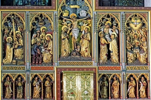 altar screen, date and artist unknown, Church of Our Lady, Collegiale Notre-Dame, Dinant, Belgium; photographed on 25 September 2013 by Dennis Jarvis; swiped from Wikimedia Commons