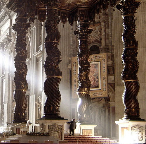 Bernini's baldachino, Saint Peter's Basilica, Rome, Italy; photographed in 2005 by Ricardo André Frantz; swiped from Wikimedia Commons