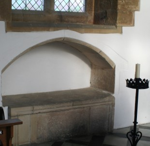 a sedilia in a church in Grendon, England; photographed on 28 November 2005 by R Neil Marshman; swiped from Wikimedia Commons