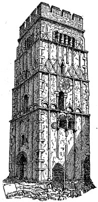 New Catholic Dictionary illustration of an 'Anglo-Saxon Church Tower at Earls Barton' that accompanied the article 'Anglo-Saxon Church'