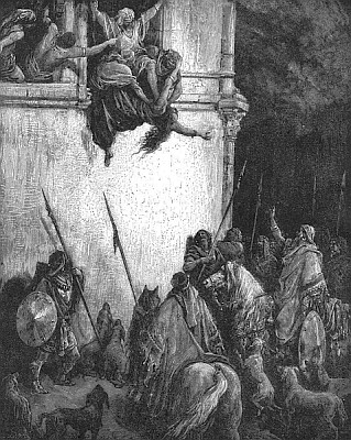 detail of the engraving 'Death of Jezebel' by Gustav Dore