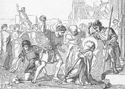 illustration of the martyrdom of Saint Timothy, from 'Pictorial Lives of the Saints', 1892