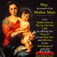MAY, THE MONTH OF MOTHER MARY:  IMITATE JESUS IN HIS LOVE FOR OUR LADY!
