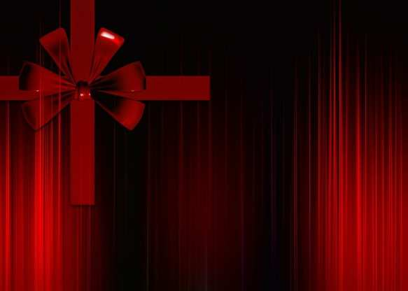 red curtains with bow