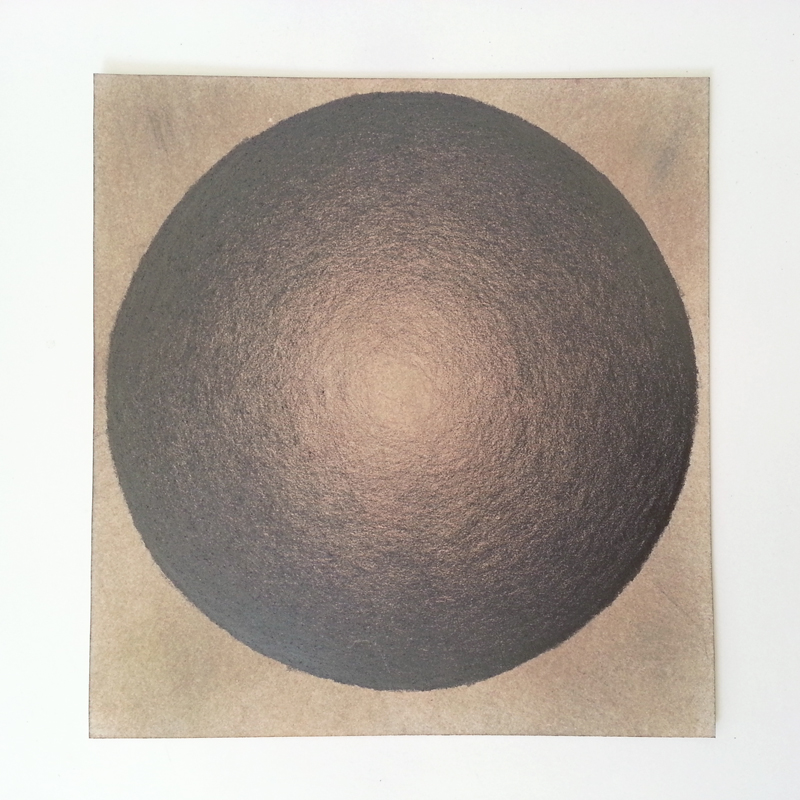 Shaded circle drawing, graphite on tinted paper, by Cathy Durso