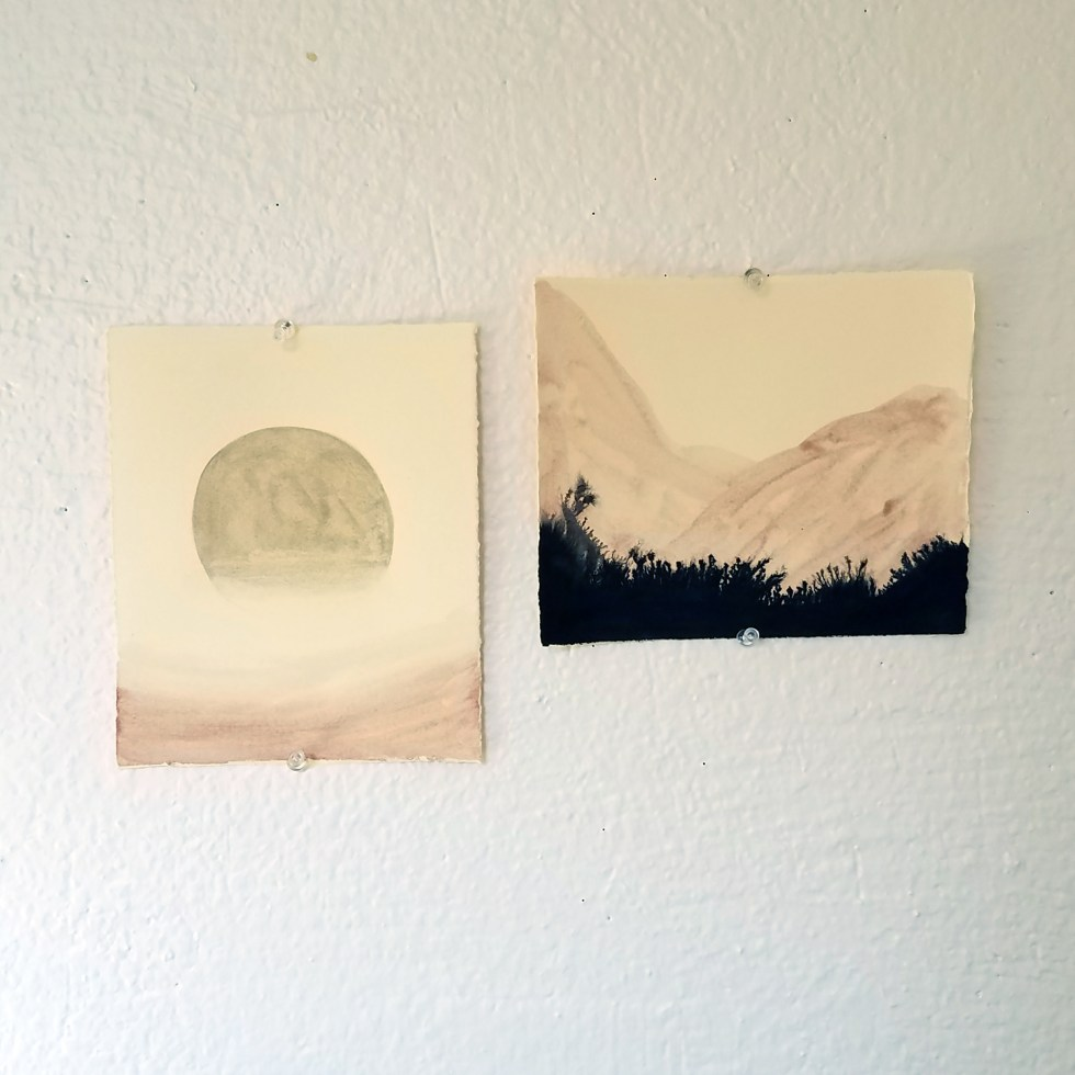 mineral pigment watercolor and India ink drawings by Cathy Durso