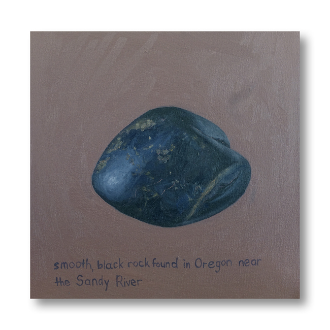 Smooth, Black Rock - painting by Cathy Durso