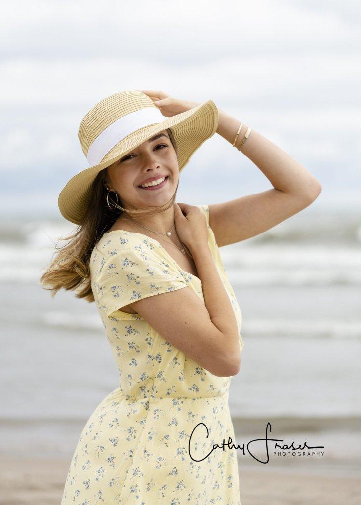 High School Senior pictures, Girl, yellow dress, floppy hat, Great Lakes, Rochester, New York, Lake Ontario, Ontario Beach State Park, Charlotte Beach, Charlotte Pier, senior pictures,