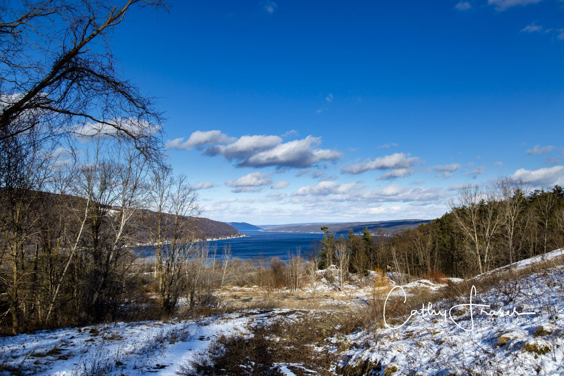 landscape photography of a lake in the wintertime of new york