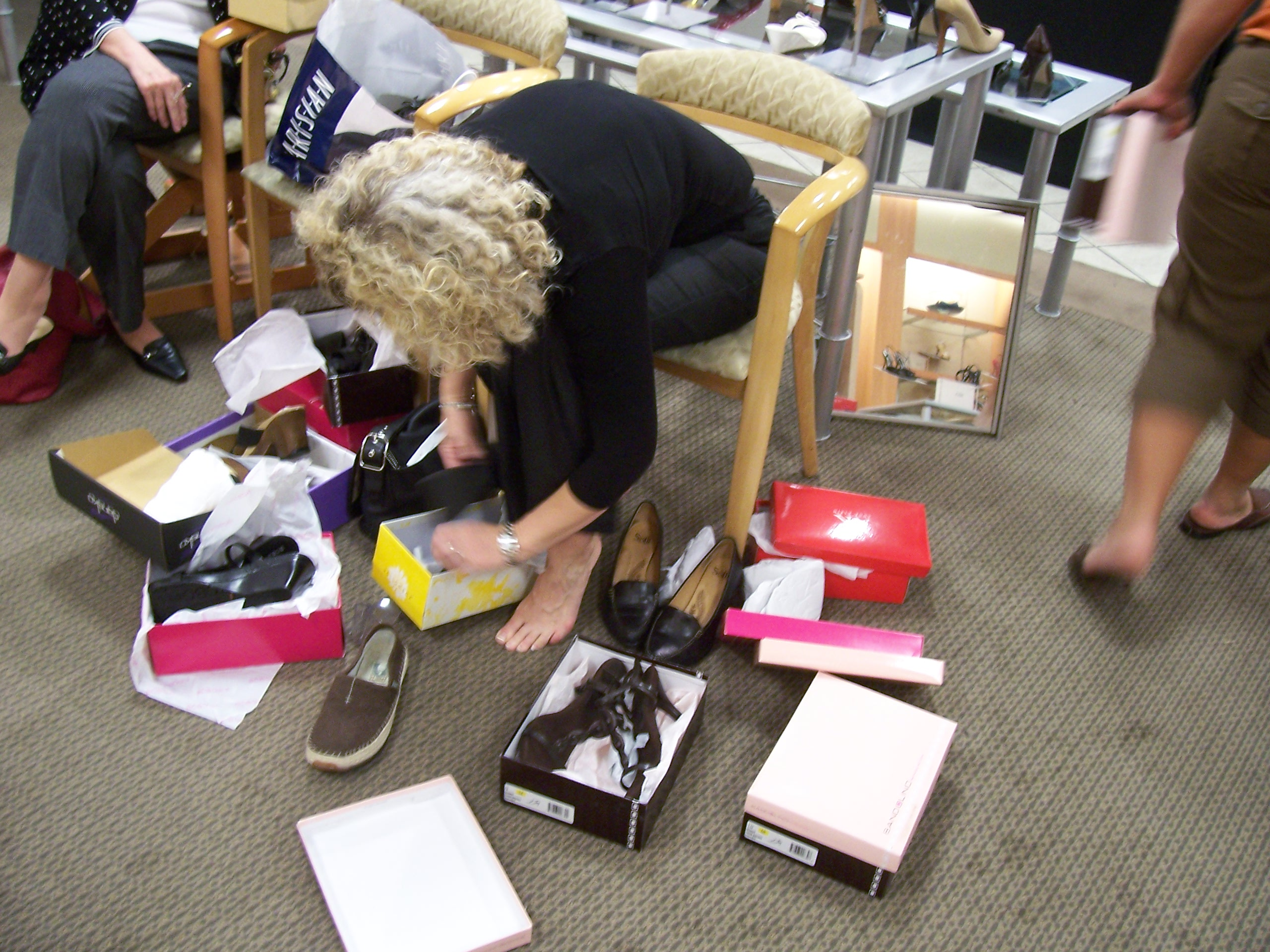Shoe shopping with friends