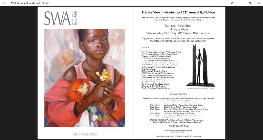 Private View invitation to Society of Women Artists Exhibition