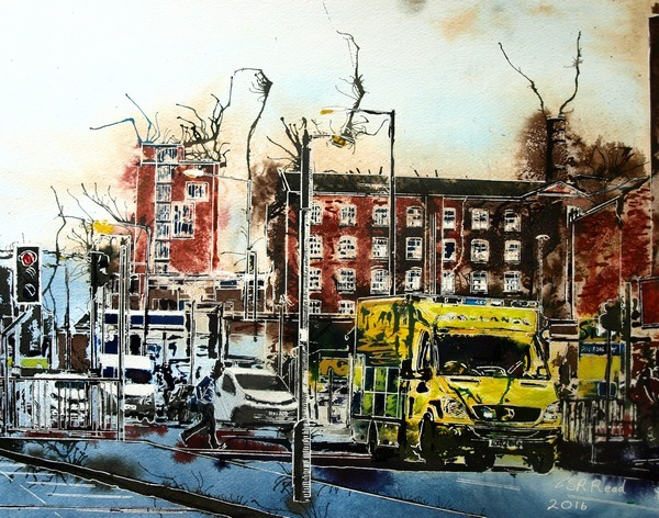 Manchester Paintings©2016-Cathy-Read-Emergency-Run-Watercolour-and-acrylic-ink-40x50cm-